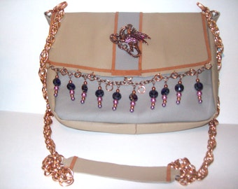 Mystical Dragon Copper and Purple leather bag