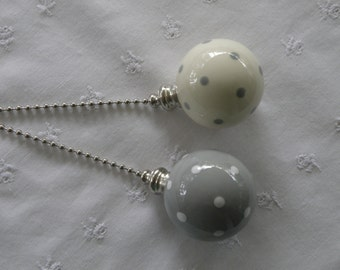 Gray Polka Dots - Set of 2 - Pottery Ball Ceiling Fan Pulls - Handmade in the USA - Nickel or Brass Hardware