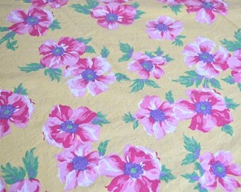 Ralph Lauren Bed Sheet - Chelsea Pink Flowers on Yellow - Full Flat