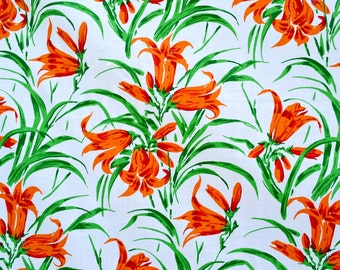 "Vintage Fabric - Orange Tiger Lilies - By the Yard - 72"" Wide"