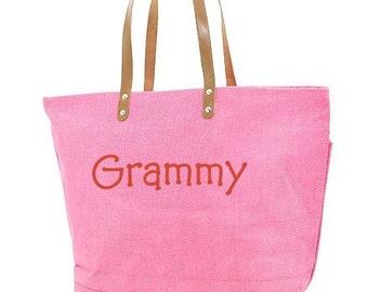 Personalize Bubblegum Pink Jute Tote Bag Bridesmaids Gift Monogram