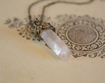 Rose Quartz Necklace - Rose Quartz Crystal Necklace - Rose Quartz Cluster Necklace - Rose Luster Quartz