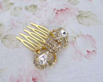 Mini Gold Hair Comb,Rhinestone Wedding Hair Comb,Bridal Hair Accessories,Wedding Accessories,Decorative Hair Comb
