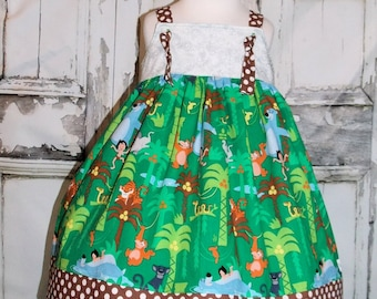 Ready to Ship! Jungle Book Knot Dress Readymade Sz 3 4 Birthday Party Disney Movie Nemo Mowgli Baloo Bear Wild Kingdom Safari