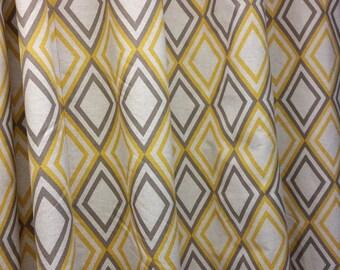 Two grommet top curtain panels drapes, Annie corn yellow kelp / linen