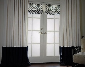 Pair of white and black color block, rod pocket, linen curtain panels, colorblock drapes, window treatments, choose colors