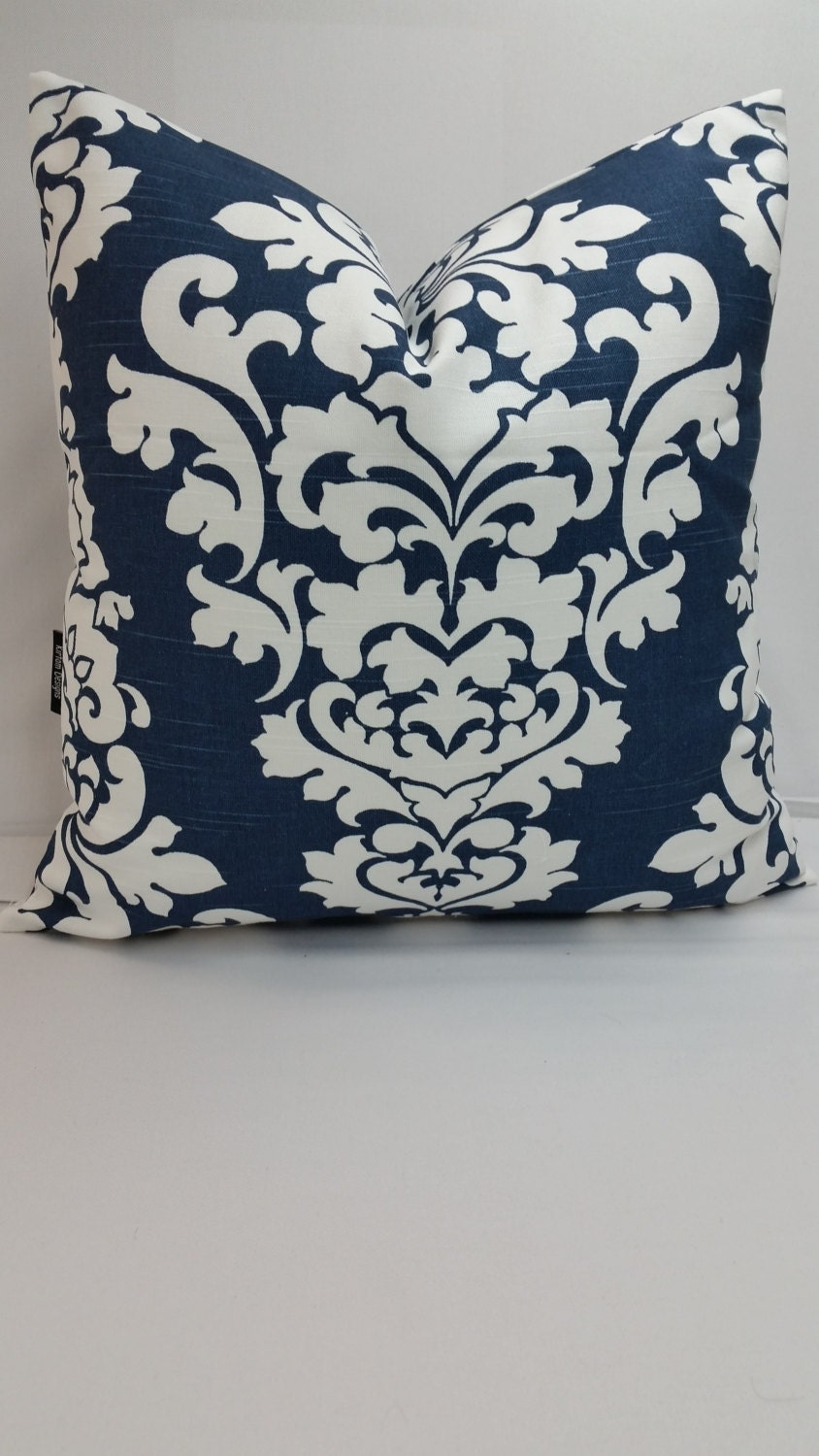 Decorative Pillows In Navy Blue : Decorative throw pillow Berlin cotton navy blue by KirtamDesigns