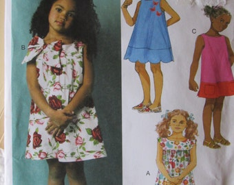 Butterick B5876 Fasy and Easy Little Girls Sundresses Summer Dress Size 3-4-5-6 Uncut Sewing Pattern 2013