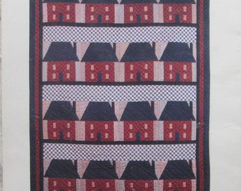 House On Checker Street/Quilt Pattern by Red Wagon/47 x 67 in Finished Size/Uncut Craft Pattern/1989