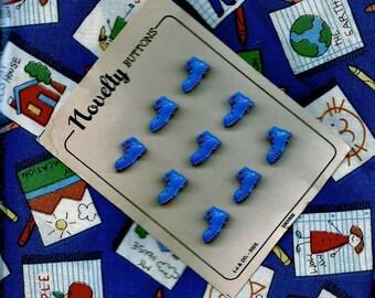"""Vintage  Set Juvenile Novelty Buttons on Original Card, """"Blue Shoes"""""""