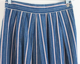 Vintage striped denim skirt Vintage red white and blue denim skirt Women 10 Vintage Ruff Hewn skirt Long denim skirt Maxi swing skirt PS