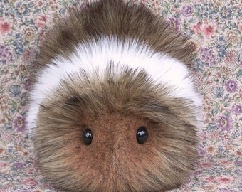Cinnamon Brown & White Guinea Pig Handmade Plush Toy