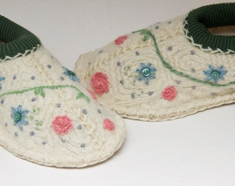 Floral slippers women upcycled aran wool sweater