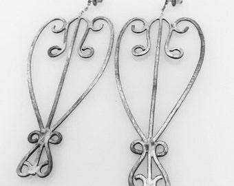 Double Heart Wrought Iron Fence Earrings (Lg)