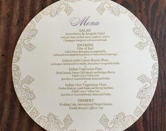 Indian Wedding Menu - 7 1/2 inch Circle - Henna/Paisley Design