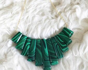 Malachite Fringe Necklace