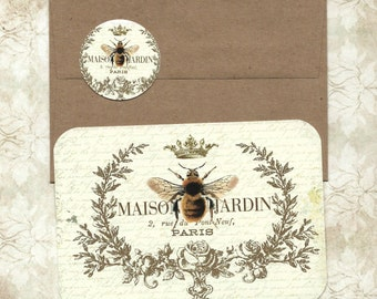 Note Cards, French Bee, Bee Cards, Jardin, French Style Cards, Stickers