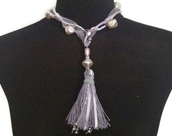 ON SALE Whimsical Romantic Multistrand Wrapped Beaded Lilac Purple and White Pearl Ribbon Tassel Necklace Choker