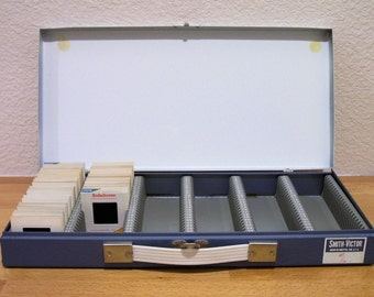 Metal Storage Case, 35 mm Slides or Infinate Other Uses, Blue and White, Great Industrial Look