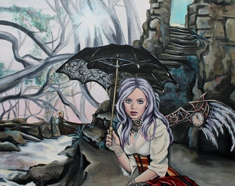 steampunk fantasy faery art print until the sun begins to rise