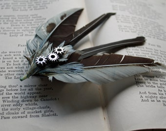 blue grey steampunk pin up swallow feather hair clip with cogs