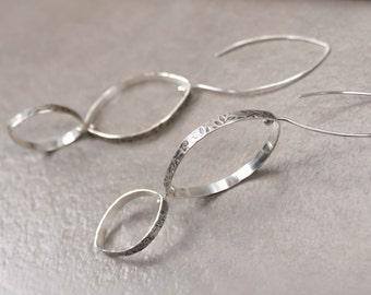 Big Sterling Silver Dangle Earrings, 3.5 inch Long Silver Earrings, Floral Print Silver Drops, Leaf Shape Dangle Earrings, Kinetic Jewelry