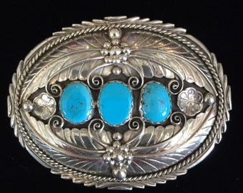 Sterling Silver and Sleeping Beauty Turquoise Belt Buckle