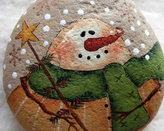 Snowman with Tree and Star Garden Stone  - Handpainted|Home Decor|Paperweight|Garden