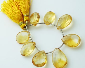 Big Size! Citrine Faceted Briolettes Qty 8