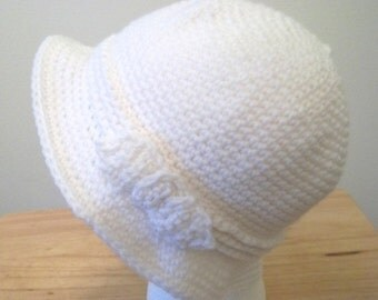 Hat - Elegant Hat with a Bow - Crochet Hat with Band and Bow