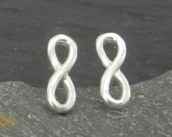 Sterling silver infinity stud earrings. Eternity figure eight ear studs