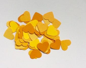Shades of Yellow  Heart Confetti Collection Table Comfetti Wedding Shower Birthday Confetti
