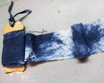 Handmade Japanese Shiboro Dyed Indigo Ribbon. Stamped Ribbon. Indigo Ribbon. Hand Dyed. Hand Frayed Ribbon. Japanese Ribbon. Vintage Ribbon.