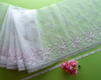 Embroidered lace, lace trim, bridal lace, wedding lace, tulle lace, ivory lace, 2 yards  WT166