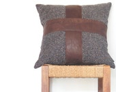 Brown Leather Pillow ... Luxe Leather Cross Cushion