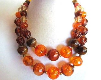 Vintage Two Strand Warm Amber Orange Brown Plastic Bead Necklace
