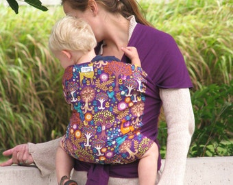 Wrap Style Baby Carrier - Fantasy Forest - Hybrid Stretch Wrap- Comfort of a Stretchy Wrap Support of a Woven Wrap- Front and Back Carries