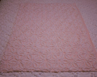 Light Pink/White Daisy Hoffman Vintage Chenille Fabric-34 X 21 in