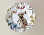 RESERVED - Silent Bunny Rabbit Wall Clock, Porcelain Plate Clock, Unique Wall Decor, Kitchen Clock, Spring Wall Clock, Nursery Clock  2119