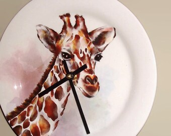 NEW!  Giraffe Wall Clock 9 Inches SILENT, Nursery Decor, Zoo Animal Decor, Safari Clock, Cute Giraffe Clock, Child Bedroom Clock - 2093