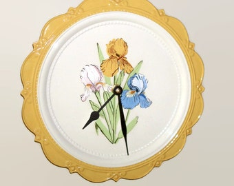 Vintage Hand Painted Iris Wall Clock, 10 inches SILENT, White and Yellow Floral Clock, Ceramic Plate Kitchen Clock - 2171