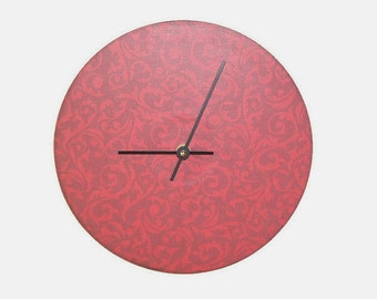 Maroon and Red Paisley Damask Wall Clock - Contemporary Wall Clock - Unique Wall Decor - Minimalist Home Decor - 2193