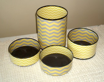Gold and Gray Chevron Desk Accessories - Tin Can Pencil Holder - Pencil Cup - Decorative Can - Desk Organizer - Office Decor - 703