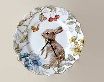 9 Inch Silent Bunny Rabbit Wall Clock, Porcelain Plate Clock, Unique Wall Decor, Kitchen Clock, Spring Wall Clock, Nursery Clock  2373