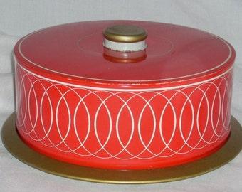 Mid Century Modern Red Cake Dessert Pastry Tin