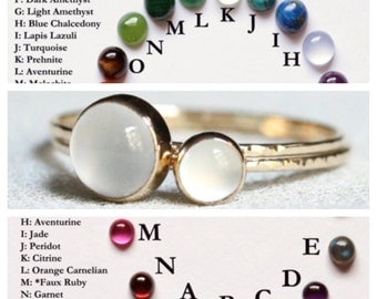 Select Two Stones - Delicate Birthstone Stack Rings - Solid 14k Gold - Dainty Birthstone Orbs - Simple Beautiful Stack Rings