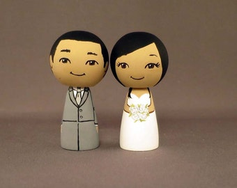 Wedding Cake Toppers Dark Haired Couple