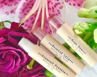 Set of 3 -  Floral-Inspired - Natural Lip Gloss Set - Pink - Lip Tint - Natural Cosmetics - Gift Set Under 20 - Stocking Stuffer