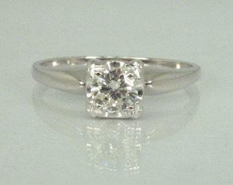 Fine Vintage Diamond Engagement Ring - 0.36 Carat Solitaire Diamond - Appraisal Included