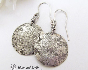 Hammered Sterling Silver Earrings Artisan Handmade Metalsmith Jewelry Everyday Earrings Textured Metal Round Drop Sterling Silver Dangle